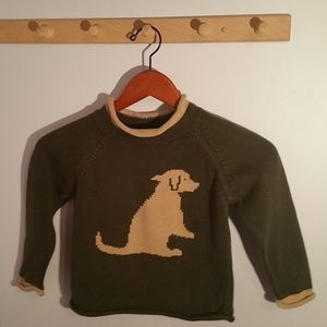 LL Bean Size 4T Olive Green Dog Pattern Sweater